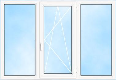 Трехстворчатое окно ПВХ